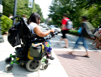 Sophomore Ricole Wicks moves across campus in her electric wheelchair.