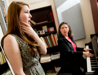 UNCG Choral student Margaret Carpenter sings during a voice lesson with UNCG professor Nancy Walker at her UNCG studio on Monday 14, 2011.