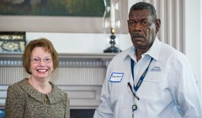 Photo of John Pierce, second shift supervisor in Facilities Services, with Chancellor Brady