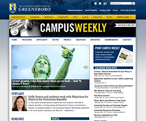 Photo of campus weekly web site