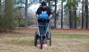 Photo of UNCG graduate student Jacob Turner conducting research