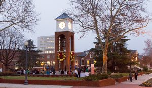 Photo from the inaugural lighting of the Vacc Bell Tower and Plaza