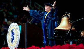 Photo of Dr. Bruce Kirchoff during Dec. 11, 2014 commencement