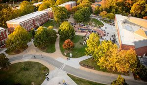 Photo of aerial view of the Moran Commons and Plaza