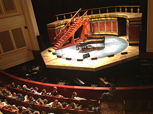 Photo of over head view of Q & A session with Phillip Glass