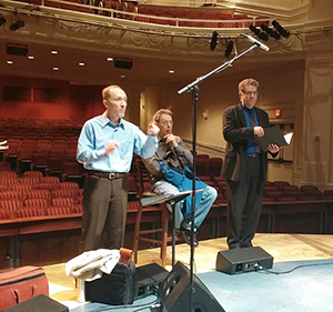Photo of Kevin Geraldi, Philip Glass and David Holley during rehearsal.