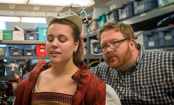 UNCG's Holly Curtis as Duchess Christian, as Designer Trent Pcenicni perfects costume