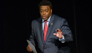 Photo of Chancellor-Elect Franklin Gilliam Jr. speaking during his state of the campus address