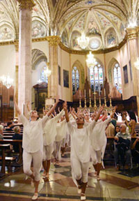 Photo of UNCG dance students performing in a cathedral in Italy