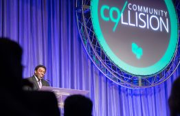 Photo of chancellor-elect Franklin Gilliam giving community collision speech at Koury Center