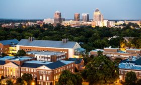 Skyline photo of UNCG campus and downtown Greensboro