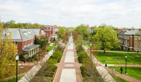 Aerial photo looking down College Avenue with students walking