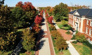 Fall photo of aerial view of College Avenue on UNCG campus