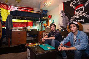 Andrew Wentz (left) and Alejandro Lopez (right) in their eclectic room in Reynolds Hall
