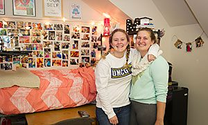 Mariah Glynn (left) and Cameron Parker (right) show off their cozy space in Mary Foust Hall