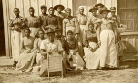 University Archives photo of the housekeeping staff circa late 1890s