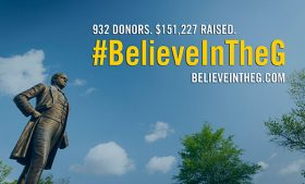Believe in the G graphic with the McIver statue. The graphic displays that a total of 932 donors raised $151,227 for the campaign.