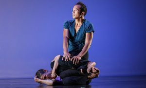 """Dancers E.E. Balcos and Alicia Grayson perform a contact and music improvisation titled """"Entering the Unknown."""""""