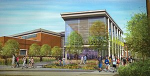 Rendering of Center for Wellness, exterior shown at street level entry