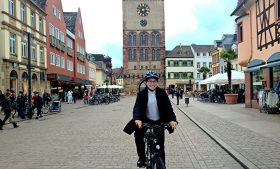 Photo of Chong Zhang bicycling in Speyer, Germany.