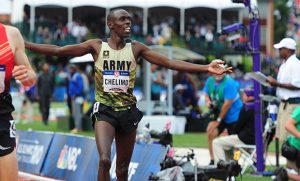 Photo of Paul Chelimo finishing a race