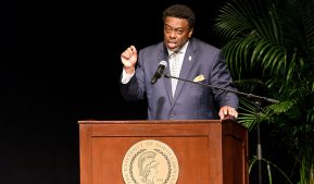 Photo of Chancellor Gilliam at State of the Campus.