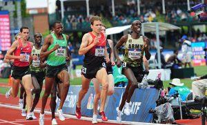 Photo of alumnus Paul Chelimo competing in U.S. Olympic track and field trials