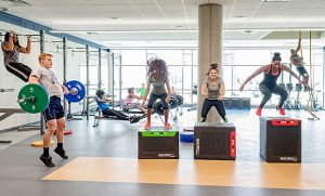 Photo of students working out