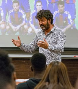 José Mari Bakero speaks to students