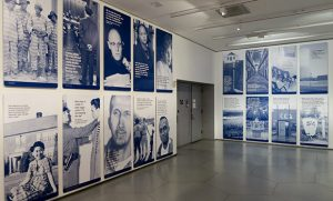 Photo of portion of States of Incarceration exhibition. Section includes large photos.