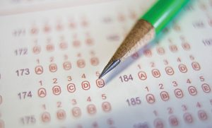 Photo of scantron and pencil