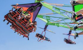 Photo of students on carnival ride