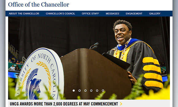 Screen shot of the home page of the chancellor's website