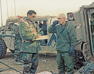 Photo of Matyók as a solider receiving orders from a general
