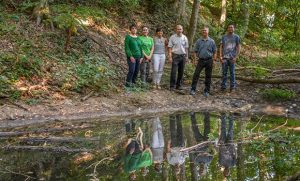 Group of researchers at wetlands