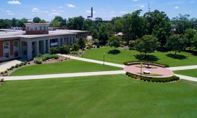 Aerial shot of Elliott University Center and the lawn in front of the building