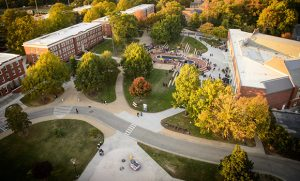 Fall aerial photo of campus