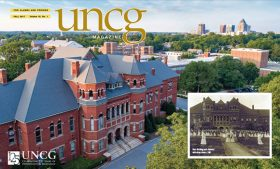 Screen shot of UNCG Magazine cover, which feature an aerial photo of Foust Building