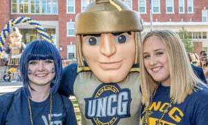 Photo of students with mascot