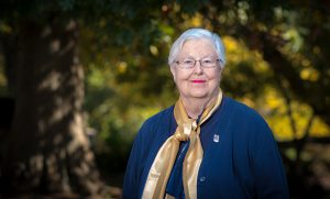 """Photo of Dr. JoAnne """"Jo"""" Safrit on campus."""
