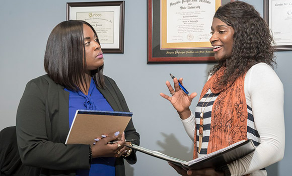 Lindsey Jefferies talks with Dr. Connie Jones in her office