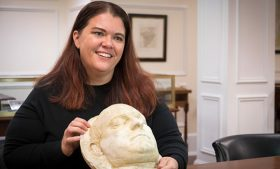 Photo of Erin Lawrimore with death mask