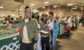 Group of students at farmers market