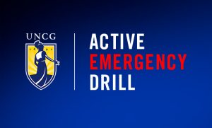 "Graphic with UNCG logo and ""Active Emergency Drill"" text"