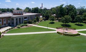 Aerial view of Elliott University Center and Kaplan Commons on campus