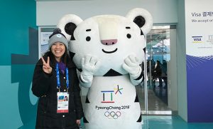 Photo of Cindy Hsieh with white tiger mascot