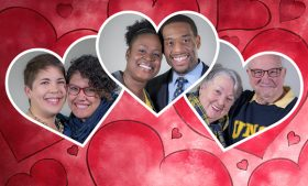 Heart graphic with photos of three alumni couples