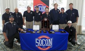 Photo of team with SoCon Championship trophy