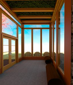 Rendering of the inside of a retreat center - empty with windows on all sides.