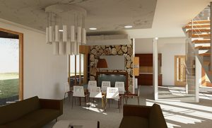 Rendering of a dining room area with table, chairs, couches, earthy colors.
